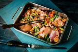 Prepared for baking chicken meat with vegetables. - 231753157