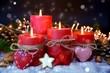 Leinwanddruck Bild - Adventskerzen rot - vierter Advent - besinnliche Weihnachtszeit