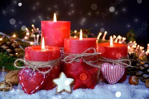 Leinwanddruck Bild Adventskerzen rot - vierter Advent - besinnliche Weihnachtszeit