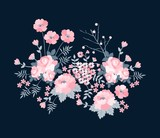 Floral composition with beautiful flowers in pink colors. Romantic bouquet isolated on black background. Vector illustration. - 231754593