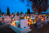 Colorful candles on the cemetery at All Saints Day, Poland - 231761582