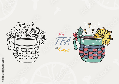 Hot tea with lemon. Illustration in two version - path and colorful. Hot winter beverage