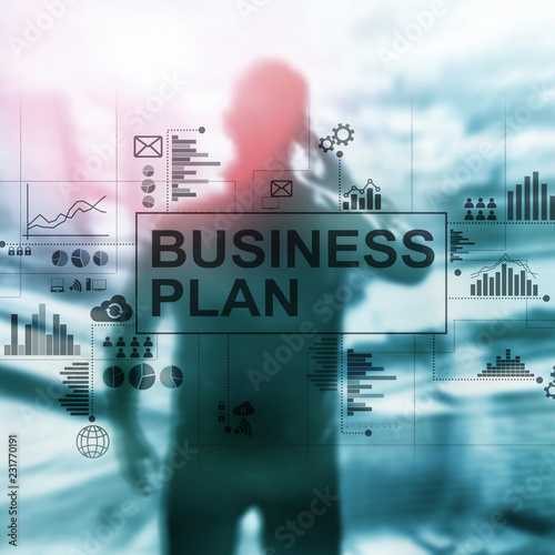 Wall mural Double exposure Business plan and strategy concept.