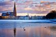 Leinwandbild Motiv Ice and snow on the Pfaffenteich lake in Schwerin.