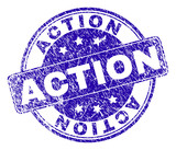 ACTION stamp seal watermark with grunge texture. Designed with rounded rectangle and circles. Blue vector rubber watermark of ACTION caption with scratched texture. - 231785147