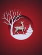Leinwandbild Motiv 3d render, digital illustration, flat paper craft winter landscape, reindeer, fir tree, layers, stag, Christmas greeting card, white tree, round frame, red background