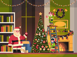 santa claus with elves on staircase decorate fir tree living room interior merry christmas happy new year concept flat horizontal vector illustration - 231788998