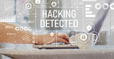Hacking detected with woman using a laptop on a coffee table  - 231792704