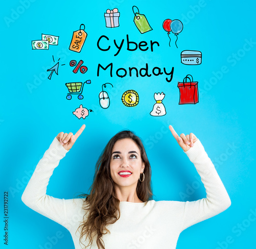 Cyber Monday with young woman reaching and looking upwards