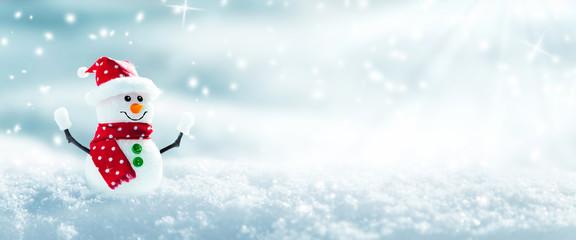 Snowman In Snowy Winter Wonderland