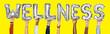 Leinwanddruck Bild - Hands showing wellness balloons word