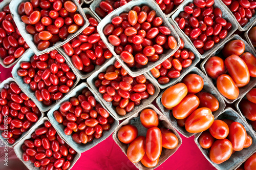 Foto Murales Grape, plum, and regular red tomatoes  for sale at a weekend farmers market in St. Pete Beach, Florida.