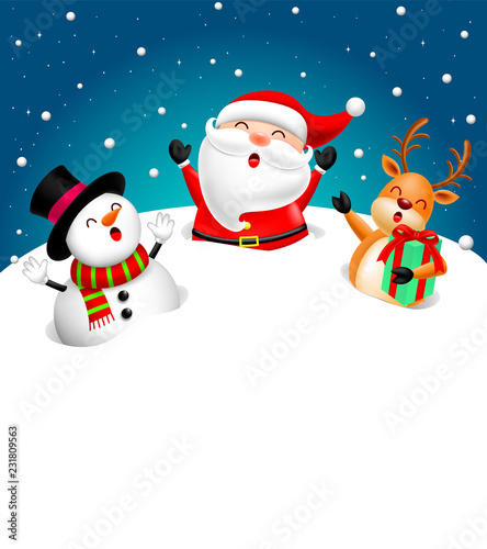 Funny Christmas Characters design on snow, Santa Claus, Snowman and Reindeer. Holly jolly, Merry Christmas and Happy new year concept, Illustration.