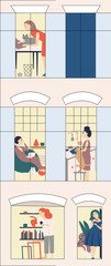 Women s hostel. Windows with neighbors doing daily things in their apartments -read, cook, communicate with cats, surf the Internet . Colorful vector illustration in modern flat style. © deathvoice