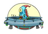 Original handrawn digital image of a wacky alien in a UFO