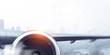 Close of airplane turbine. Mixed media