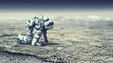 Astronaut starting to run. Mixed media - 231815763