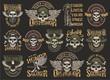 Vintage colorful military emblems set