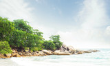 Exotic Thai landscape. Thailand, Samui island. Sea, ocean and jungle view. Vacation, traveling and tourism concept.