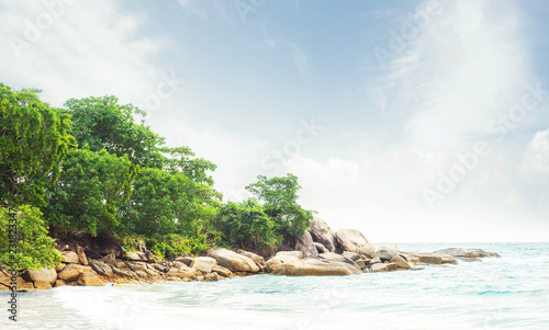 Leinwandbild Motiv Exotic Thai landscape. Thailand, Samui island. Sea, ocean and jungle view. Vacation, traveling and tourism concept.