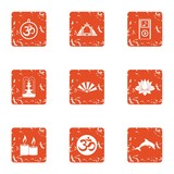 Oriental manner icons set. Grunge set of 9 oriental manner vector icons for web isolated on white background - 231826369