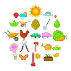 Harvest icons set. Cartoon set of 25 harvest vector icons for web isolated on white background