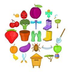 Gardener icons set. Cartoon set of 25 gardener vector icons for web isolated on white background
