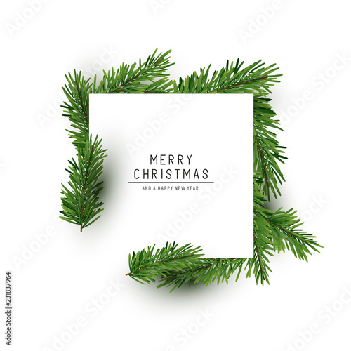 A christmas square shaped layout background with fir branches. Vector illustration © James Thew