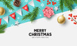 Vector christmas composition with fir branches, bows and decorations. Illustration. - 231838163