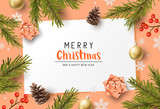 Vector christmas composition with fir branches, bows and decorations. Illustration. - 231838105