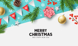 Vector christmas composition with fir branches, bows and decorations. Illustration.