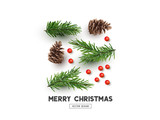 Fototapety Merry Christmas Natural Design Layout