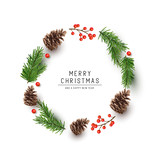 A round shaped Christmas frame made with fir branches, pine cones and red berries. Flat lay vector illustration - 231838376