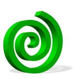 Grüne Spirale vor weißem Hintergrund - 231839348