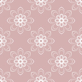 Floral purple and white ornament. Seamless abstract classic background with flowers. Pattern with repeating floral elements - 231842390