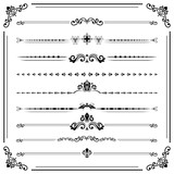 Vintage set of decorative elements. Horizontal separators in the frame. Collection of different ornaments. Classic black patterns. Set of vintage patterns - 231842970