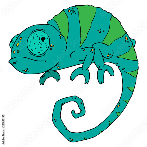 Ikona kameleona. Wektorowa ilustracja kreskówka kameleon. Ręcznie rysowane zabawny kameleon.