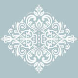 Elegant blue and white ornament in classic style. Abstract traditional pattern with oriental elements. Classic vintage pattern - 231843363