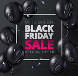 Black friday sale promo poster with shiny balloons. - 231852303