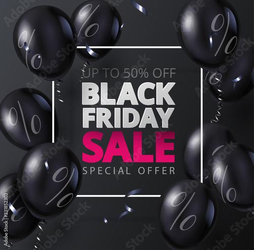 Czarny piątek sprzedaż promo plakat z błyszczące balony.