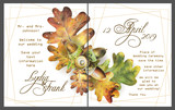 Set of two template cards with autumn oak leaves and acorns for invitation or poster design. Illustration painted with colored pencils on white background. - 231856547