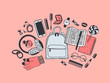 Hand drawn Fashion Illustration What is in my bag. Vector picture casual objects on pink background. Artistic doddle drawing. Creative ink art work