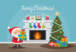 Christmas greeting card with Santa Claus, a fireplace, w christmas tree with presents. Vector illustration in flat style.
