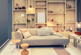 living room with bookcase - 231870994