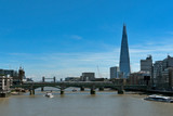 London, UK: River Thames, the Shard Building and the Tower Bridge in the distance