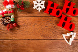 Christmas decorations and ornament on wooden background. View from above - 231876557