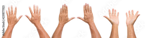 Leinwandbild Motiv set of man hands isolated on white background