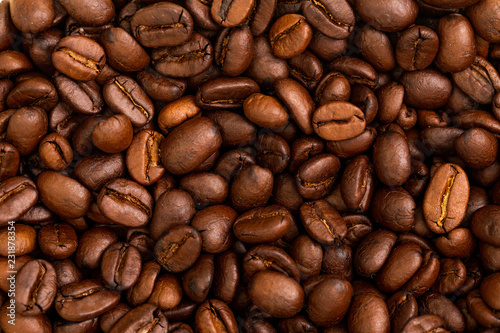 Roasted coffee beans for food and drink background