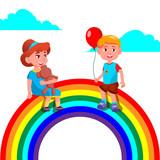 Child Girl And Boy Sitting On The Rainbow Vector. Illustration - 231879995