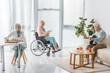 senior people spending time together in nursing home